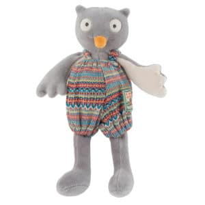 Tiny Isidore the owl doll - La Grande Famillie - soft toys, plush toys, baby toys - Moulin Roty toys Australia