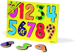 Yellow backing board with brightly coloured number pieces