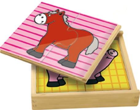 A wooden box with a horse puzzle on top