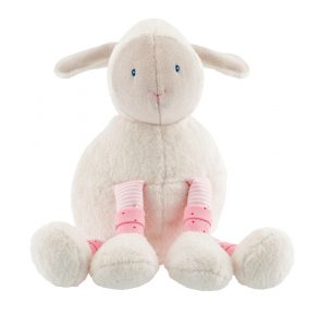 White sheep soft toy with pale pink legs
