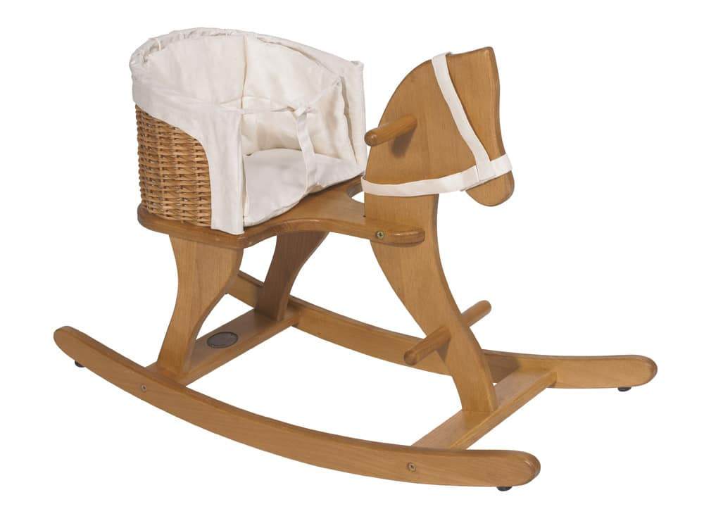 Light brown wood work with a white cloth lining inside the seat