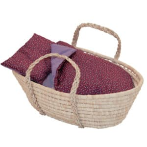 coquette moses dolls carrying basket with maroon bedding