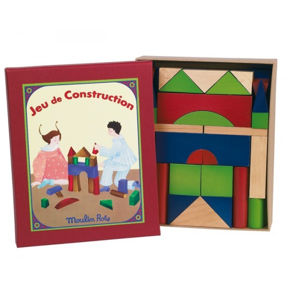 boxed set of multicoloured building blocks