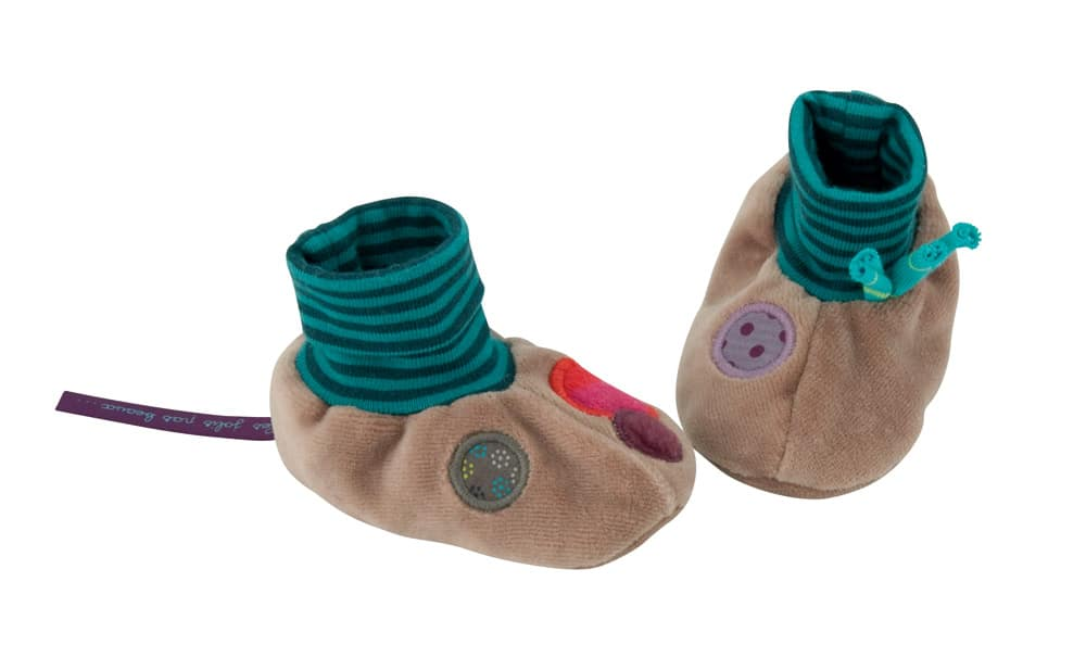 Soft slippers with blue upper and brown foot
