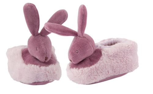 Soft purple slipper with a rabbit head attached to toes