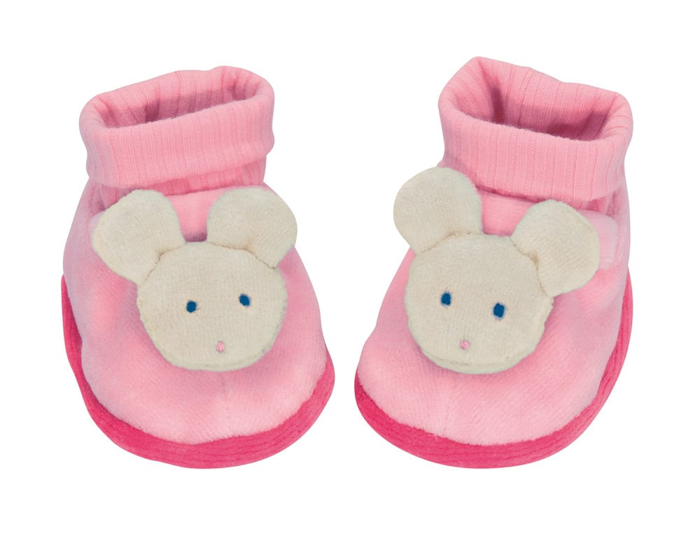 Dark pink slipper with grey mouse face on toes