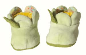 Green slipper with yellow inside