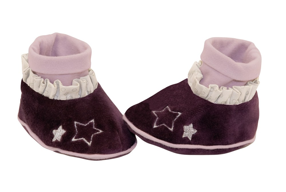 Dark purple on foot with star outlines on toes