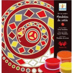 Mandala of snake with coloured sand