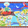 ali riding his magical carpet over the land silhouette puzzle image