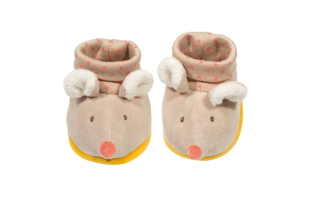 Biscotte and Pompon mouse baby slippers