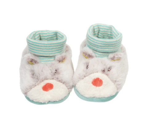 Biscotte and Pompon bear baby slippers