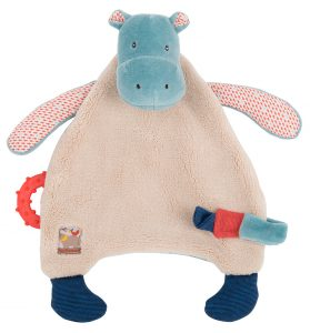 Les Papoum - hippo comforter with teething ring