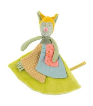 wolf comforter, dou dou, children's comforter toy, baby toys, soft toys, toys, Tartempois, Moulin Roty toys Australia