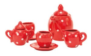 Red ceramic tea set in case - La Grande Famille - Moulin Roty