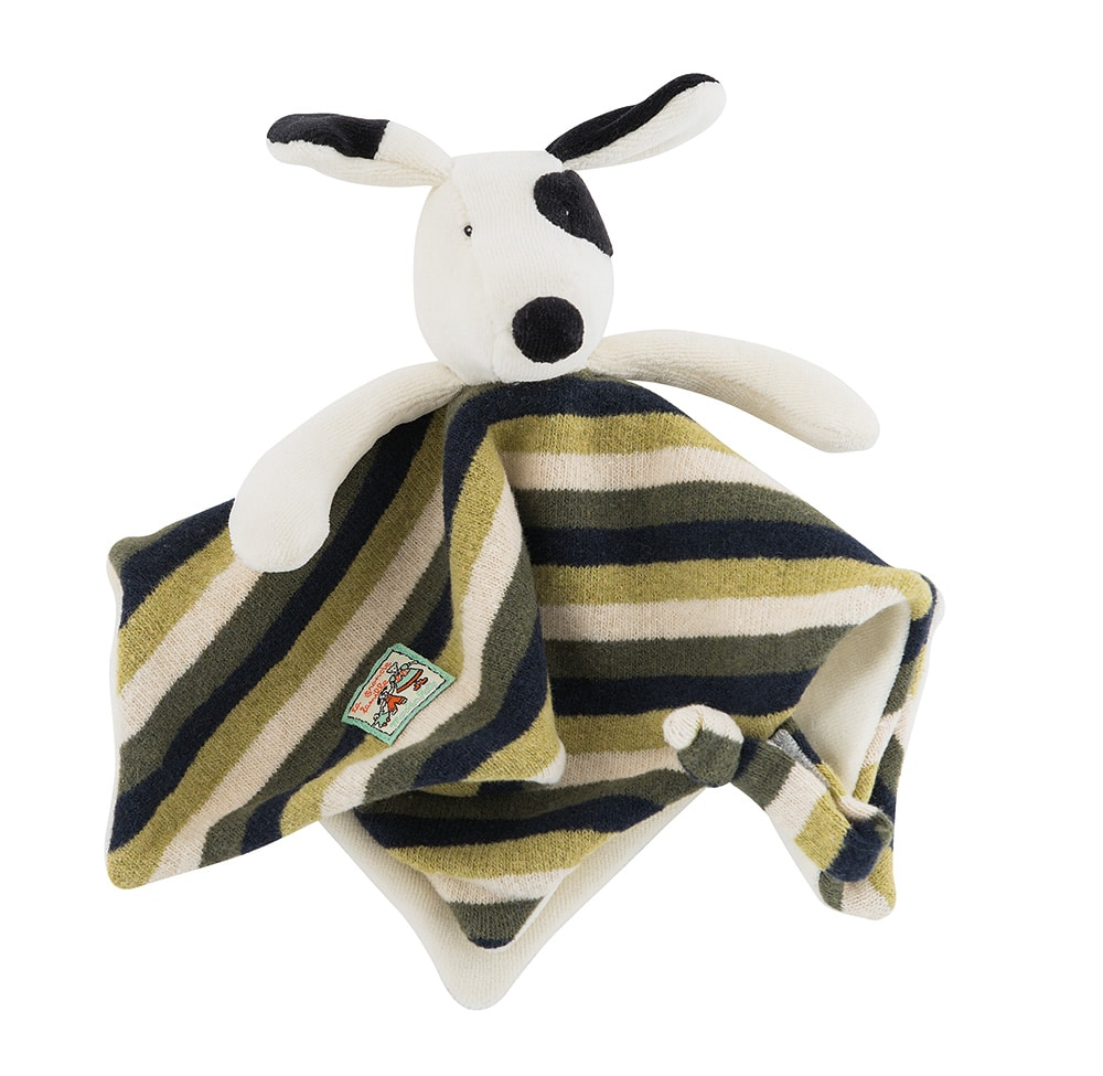 Julius the dog comforter, Moulin Roty La Grande Famille, baby toys, comforters