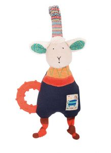 Zig et Zag sheep teething ring and rattle with strap - Moulin Roty