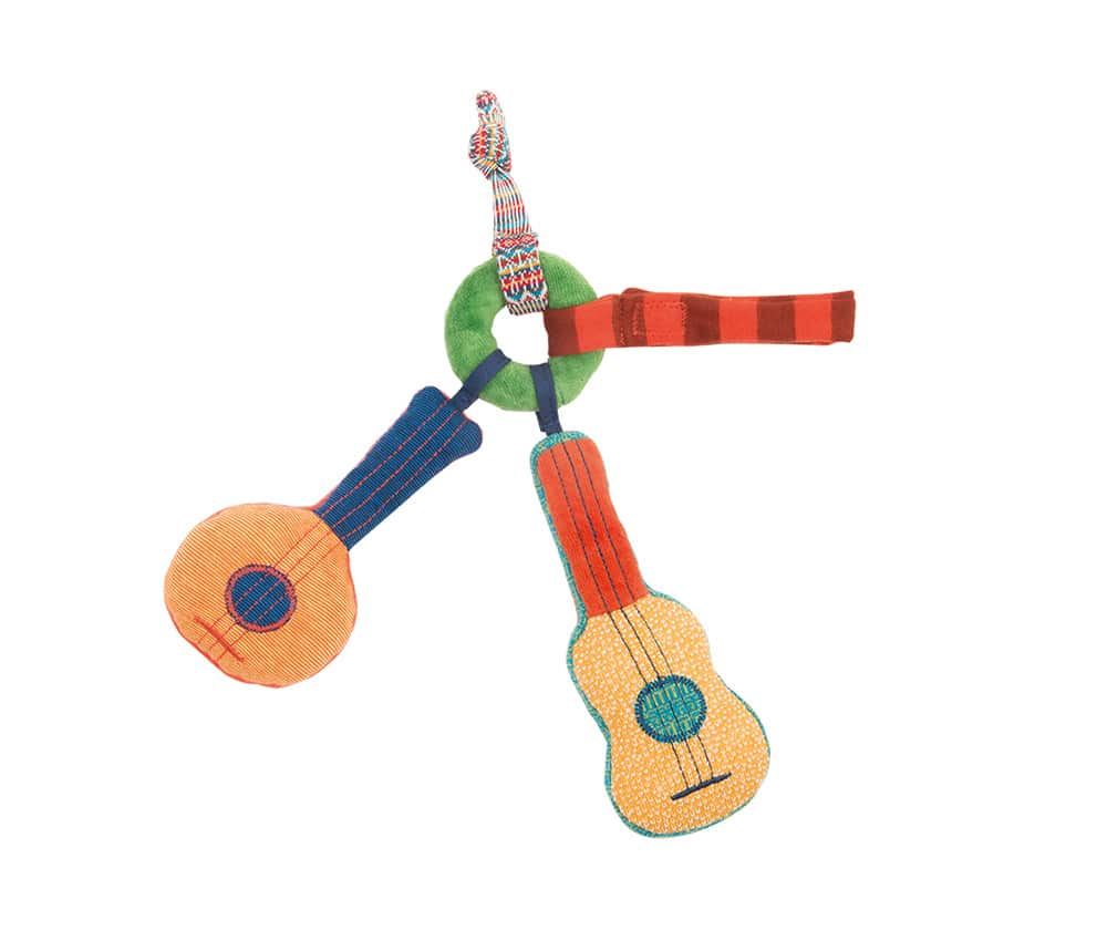 guitar rattle with velcro straps, baby toys, soft toys, rattles, zig et zag, Moulin Roty toys Australia