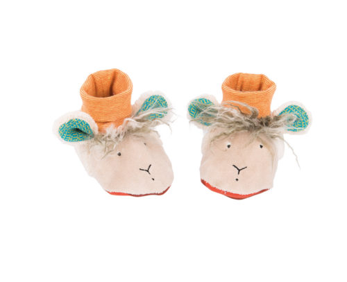 sheep baby slippers, baby wear, zig et zag, moulin roty toys Australia