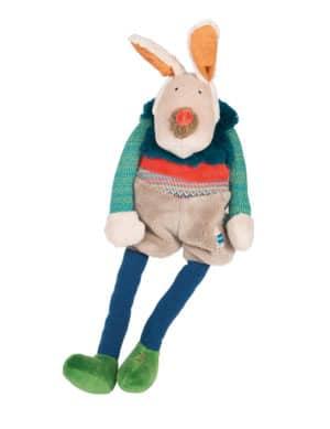 Les Zig et Zag blue dog doll musician, soft toys, Moulin Roty toys Australia