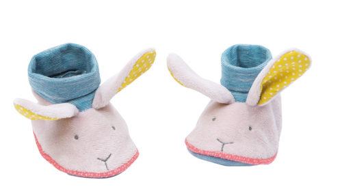 Baby slippers, Moulin Roty, Mademoiselle et Ribambelle rabbit baby slippers