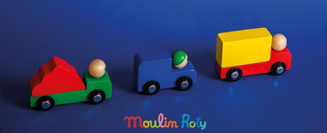 brightly coloured wooden cars