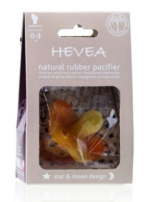 HE-StarMoon-0-3 Hevea Natural Rubber pacifier star and moon design