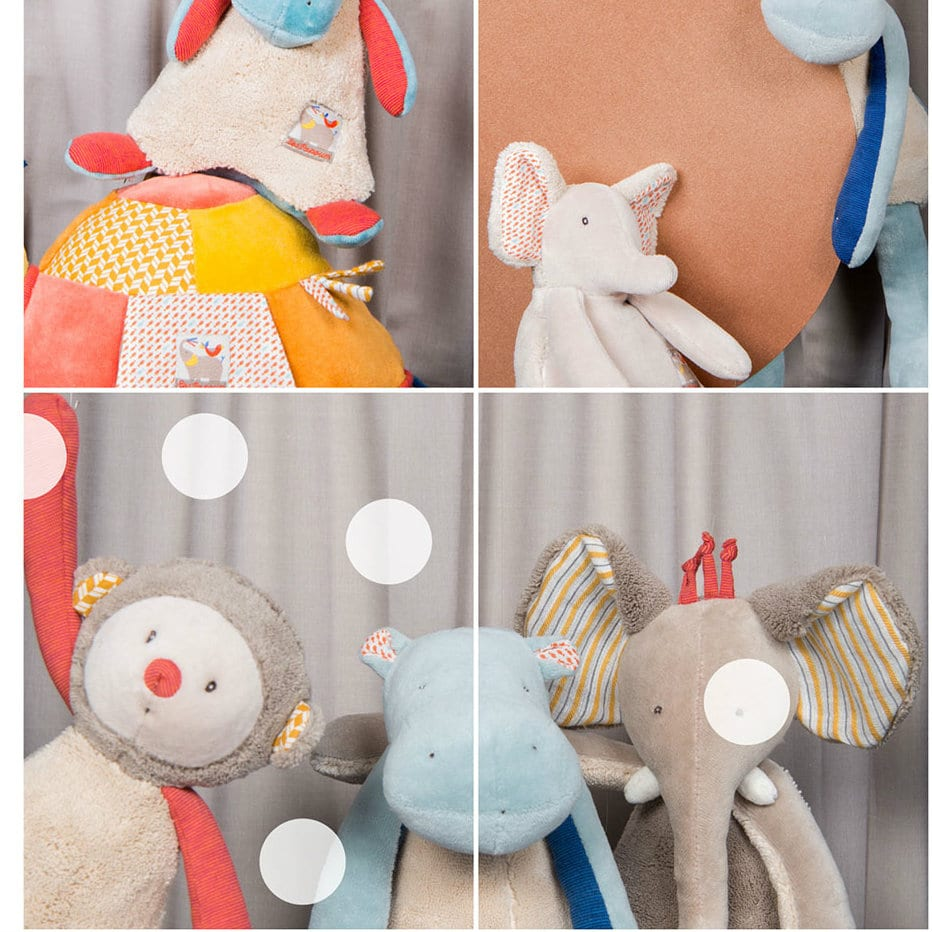 baby toys for comfort and sensory development - soft hippos, elephants and monkeys in les papoum range - Moulin Roty