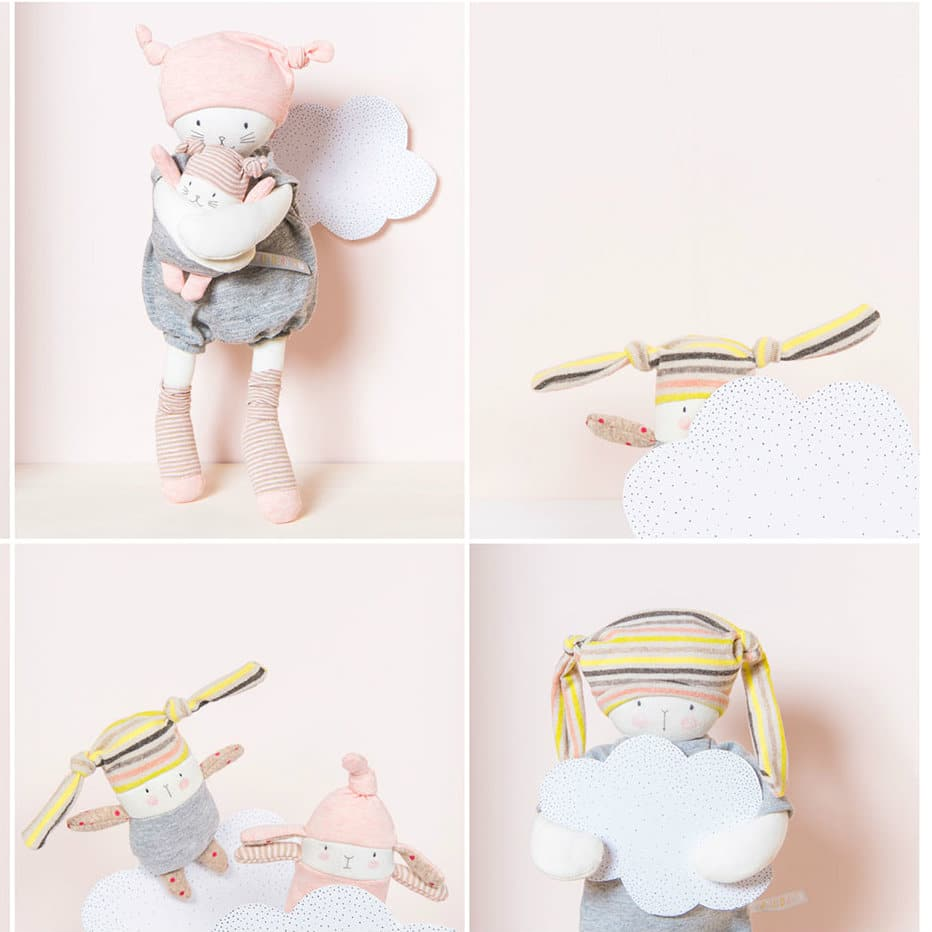 baby comforter - image showing les petits dodos with clouds, grey and pink soft toys