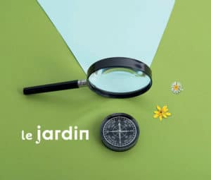 magnifying glass, compass and flowers 'le jardin'