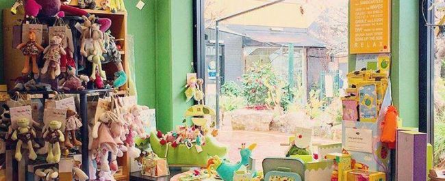 interior of shop showing toys in window and on display