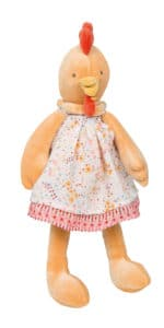 little felicie - chicken soft toy from moulin roty dressed in floral poplin cotton dress and yellow velour body
