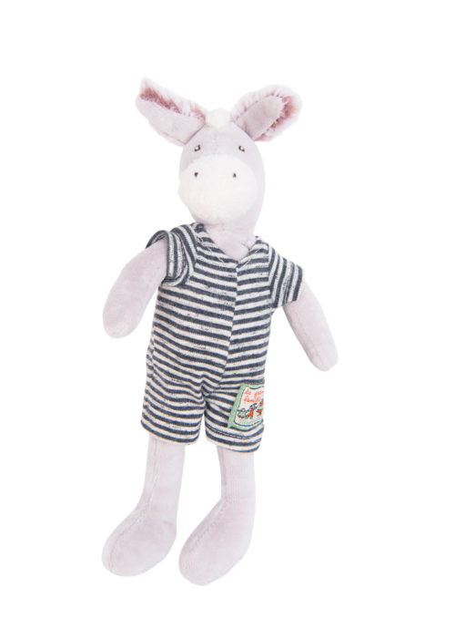 tiny barnabe the toy donkey from moulin roty - soft neutral grey toned velour body with black and white striped removable jumpsuit