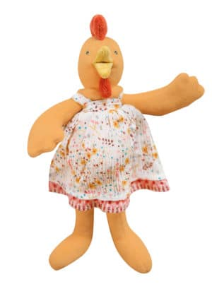 felicie the chicken plush toy from Moulin Roty - orange velour body with velour beak and crown and floral poplin white and red dress