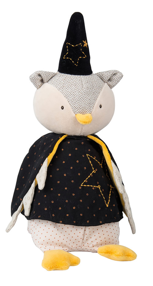 musical owl soft toy from Moulin roty - this owl magician is dressed in a black point hat and black cape - his facial features are embroidered on