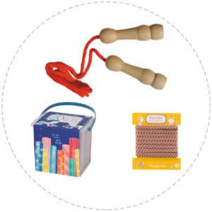 outdoor games gift pack - skipping rope, floor chalk and french elastics